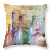 Bottle Collage Throw Pillow