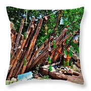 Bottle Fence In Golden New Mexico Throw Pillow