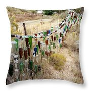 Bottle Fence. Throw Pillow