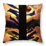 Bottle Tree Sunrise Throw Pillow