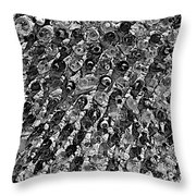Bottle Wall Black And White Throw Pillow