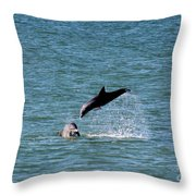 Bottlenose Dolphins In The Ocean Throw Pillow