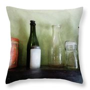 Bottles And A Coffee Can Throw Pillow