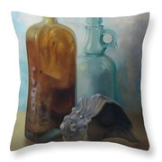 Bottles And Shell Throw Pillow
