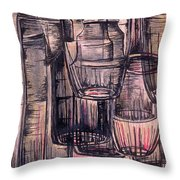 Bottles In Red Throw Pillow