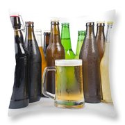 Bottles Of Beer And Beer Mug.  Throw Pillow