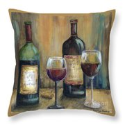 Bottles Of Red Throw Pillow