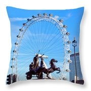 Boudica Riding The Millennium Wheel Throw Pillow