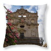 Sunlit Pink Bougainvillea At Santa Lucia Alla Badia Church In Syracuse Sicily Throw Pillow