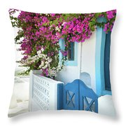 Bougainvillea In Santorini Island Throw Pillow