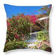 Bougainvillea Villa Throw Pillow