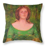 Bouguereau Girl In The Cross Timbers Of Oklahoma Throw Pillow