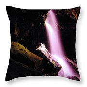 Boulder Cave Falls From The Side  Throw Pillow