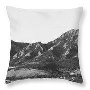 Boulder Colorado Flatirons And Cu Campus Panorama Bw Throw Pillow