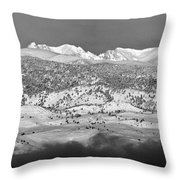 Boulder County Continental Divide Panorama Bw Throw Pillow