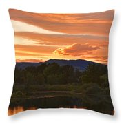 Boulder County Lake Sunset Vertical Image 06.26.2010 Throw Pillow