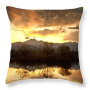 Boulder County Sunset Reflection Throw Pillow
