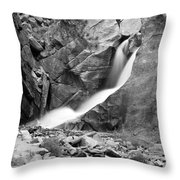Boulder Falls Black And White   Throw Pillow