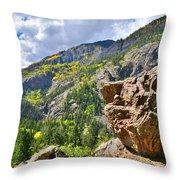 Boulder In Ouray Canyon Throw Pillow