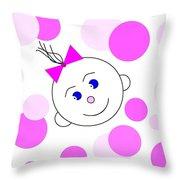 Bouncing Baby Girl Throw Pillow