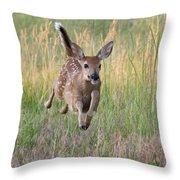 Bounding Bambi Throw Pillow