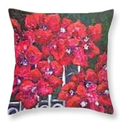 Bounganvillia On Fence Throw Pillow
