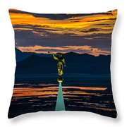 Bountiful Sunset - Moroni Statue - Utah Throw Pillow