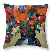 Bouquet-a-day #8 Original Mixed Media Painting On Canvas 70.00 Incl Shipping By Elaine Elliott Throw Pillow