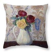 Bouquet De Roses Dans Un Vase 1885 Throw Pillow