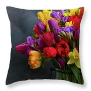 Spring Flowers In Vase Throw Pillow