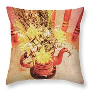 Bouquet Of Dried Flowers In Red Pot Throw Pillow