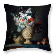 Bouquet Of Flowers In A Terracotta Vase With Peaches And Grapes Throw Pillow