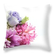 Bouquet Of Fresh Flowers Isolated On White Throw Pillow