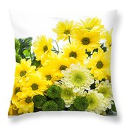 Bouquet Of Fresh Spring Flowers Isolated On White Throw Pillow