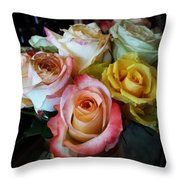 Bouquet Of Mature Roses At The Counter Throw Pillow