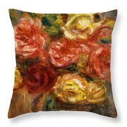 Bouquet Of Roses In A Vase 1900 Throw Pillow