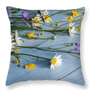 Bouquet Of Wild Flowers On A Wooden Throw Pillow