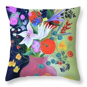 Bouquet With Dahlias And Blackberries Throw Pillow
