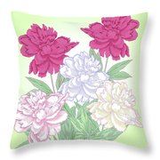 Bouquet With White And Pink Peonies.spring Throw Pillow