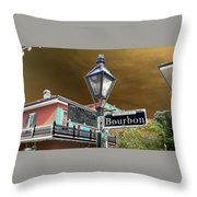 Bourbon And St. Phillip Streets Throw Pillow