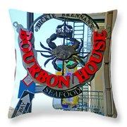 Bourbon House Signage Throw Pillow