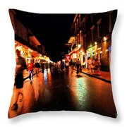 Bourbon Street At Dusk Throw Pillow