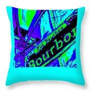 Bourbon Street In Blue Throw Pillow