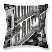 Bourbon Street Morning-bw-nola Throw Pillow