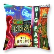 Bourbon Street Neon Throw Pillow