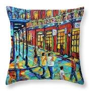 Bourbon Street New Orleans By Prankearts Throw Pillow