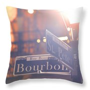 Bourbon Street New Orleans La Throw Pillow
