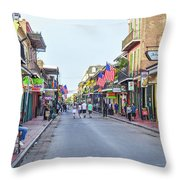 Bourbon Street - New Orleans Louisianna Throw Pillow