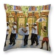 Bourbon Street Second Line New Orleans Throw Pillow