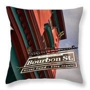 Bourbon Street Sign Throw Pillow